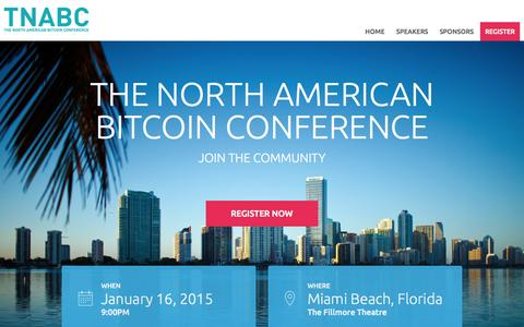 Screenshot of Home Page Contact Page btcmiami.com - North American Bitcoin Conference - captured Oct. 5, 2014