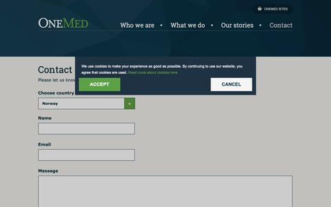 Screenshot of Contact Page onemed.com - Contact - captured Oct. 18, 2018