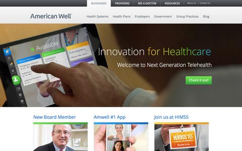 Screenshot of Home Page americanwell.com - American Well: Telemedicine Technology Solutions - captured Feb. 9, 2016