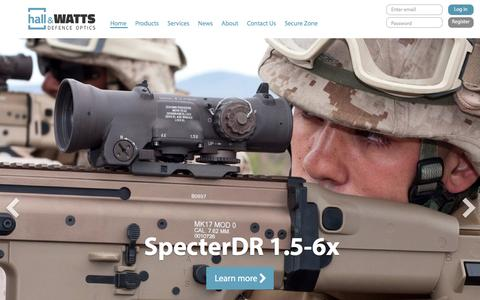 Screenshot of Home Page hallandwatts.com - Hall & Watts Defence Optics | Home - captured Feb. 3, 2016