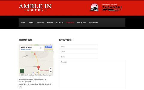 Screenshot of Contact Page ambleinmoteltaranaki.co.nz - Amble in Motel Stratford | Contact Details - captured June 15, 2016
