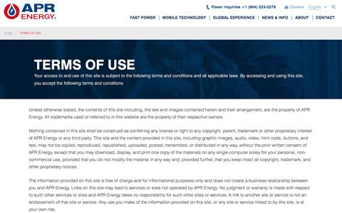 Screenshot of Terms Page aprenergy.com - Terms of Use | APR Energy - captured July 13, 2018