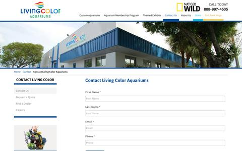 Screenshot of Contact Page livingcolor.com - Contact Living Color Aquariums   Living Color Aquariums - captured Jan. 31, 2016