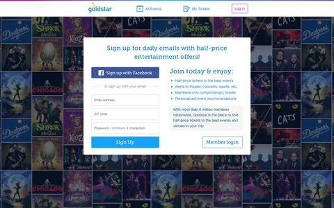 Screenshot of Home Page goldstar.com - Tickets for Theater, Concerts, Sports, Comedy and Performing Arts | Goldstar - captured Oct. 1, 2015