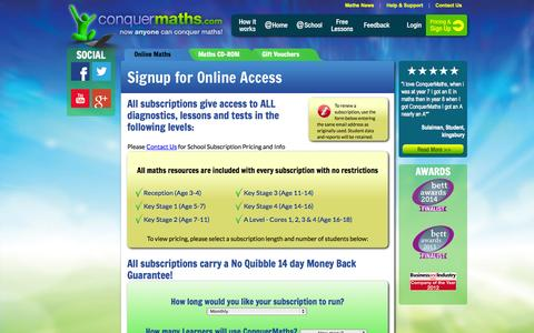 Screenshot of Signup Page conquermaths.com - Maths Tutor Online for Ages 4 to 18, Maths Lessons, Maths Help, Maths Revision, Homework Help - captured Oct. 30, 2014