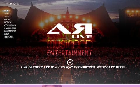 Screenshot of Home Page arlive.com.br - AR Live Music Entertainment - captured Oct. 4, 2014