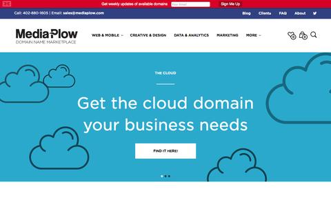 Screenshot of Home Page mediaplow.com - Media Plow - Brandable Domain Marketplace For Tech & Startups - captured Sept. 19, 2014