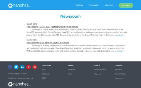 Screenshot of Press Page nanoheal.com - Newsroom - Nanoheal - captured Nov. 8, 2018