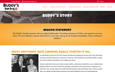 Screenshot of About Page buddysbarbq.com - The Buddy's Bar-B-Q Story. Our History and Mission. - captured June 3, 2017