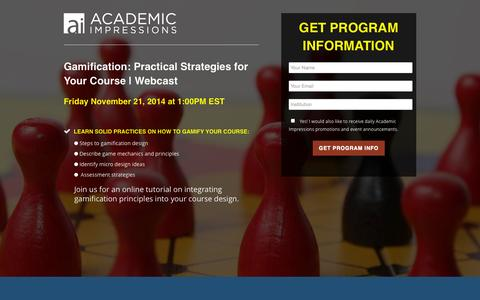 Screenshot of Landing Page academicimpressions.com - Gamification: Practical Strategies for Your Course | Webcast - captured Oct. 27, 2014
