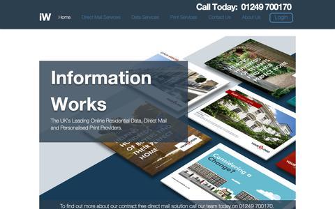 Screenshot of Home Page informationworks.co.uk - Online Direct Mail and Data Services | Wiltshire | Information Works - captured Dec. 10, 2018