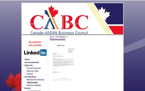 Screenshot of Testimonials Page canasean.com - Testimonials - Canada ASEAN Business Council - captured Oct. 18, 2016