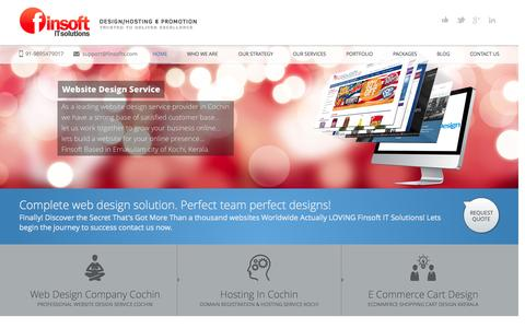 Screenshot of Home Page finsofts.com - Web Design Cochin Best Web Design Company Cochin Kochi Kerala Web Hosting - captured Oct. 6, 2014
