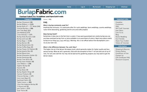 Screenshot of FAQ Page burlapfabric.com - FAQ : BurlapFabric.com - Burlap Fabric for Weddings and Special Events - captured Oct. 31, 2014