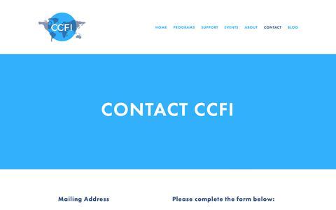 Screenshot of Contact Page columbiacfi.org - Contact — Columbia Council for Internationals - captured Nov. 9, 2018