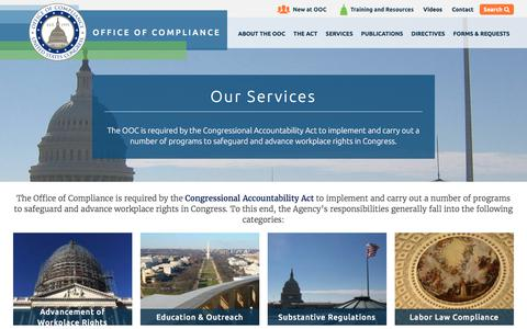 Screenshot of Services Page compliance.gov - Our Services | Office Of Compliance - captured Aug. 23, 2017