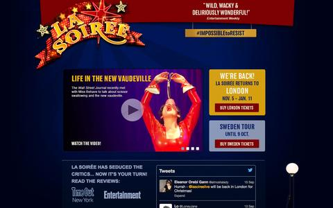 Screenshot of Home Page la-soiree.com - La Soirée | Official Website - captured Sept. 27, 2014
