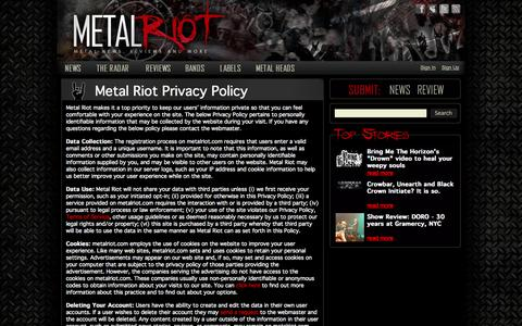 Screenshot of Privacy Page metalriot.com - Metal Riot Privacy Policy – Metal Riot - captured Oct. 27, 2014