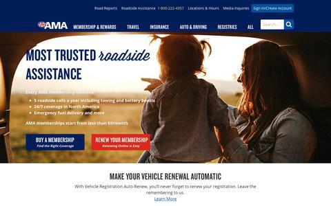 Screenshot of Home Page ama.ab.ca - AMA - Alberta Motor Association - Partners of CAA & AAA - captured Sept. 23, 2018