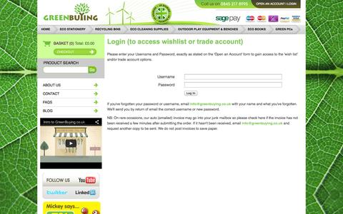 Screenshot of Login Page greenbuying.co.uk - GreenBuying.co.uk - Only Eco products sold - captured Oct. 3, 2014