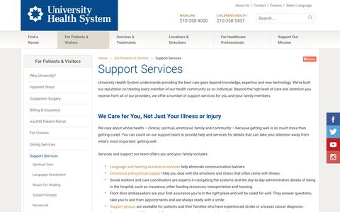 Screenshot of Support Page universityhealthsystem.com - Support Services | University Health System - captured Jan. 10, 2016
