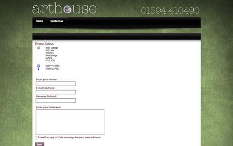 Screenshot of Contact Page arthousepublishing.co.uk - Emma Aldous - captured Feb. 6, 2016
