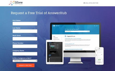 Screenshot of Trial Page dzonesoftware.com - Request a Free Trial of AnswerHub to Succeed Through Shared Knowledge - captured Oct. 26, 2016