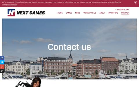 Screenshot of Contact Page nextgames.com - Next Games - captured July 13, 2018