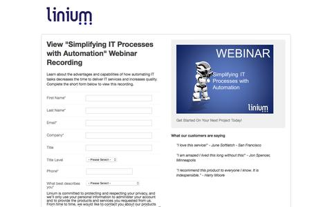 """Screenshot of Landing Page linium.com - View """"Simplifying IT Processes with Automation"""" Webinar Recording - captured Sept. 21, 2018"""