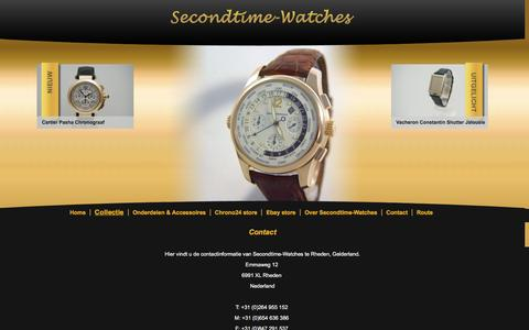 Screenshot of Contact Page secondtime-watches.nl - Contact - captured May 28, 2016