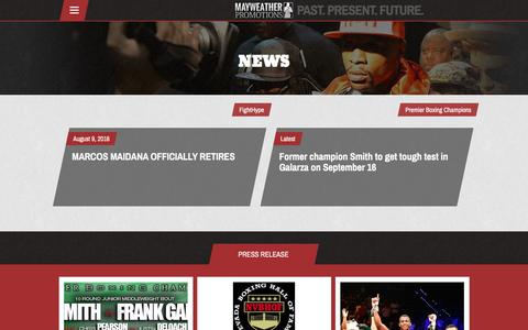 Screenshot of Press Page mayweatherpromotions.com - News – Mayweather Promotions - captured Aug. 10, 2016