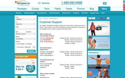 Screenshot of Contact Page Support Page escapes.ca - Customer Support - Escapes.ca - captured Oct. 22, 2014