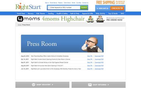 Screenshot of Press Page rightstart.com - Press Room  - Rightstart.com - captured Feb. 9, 2016