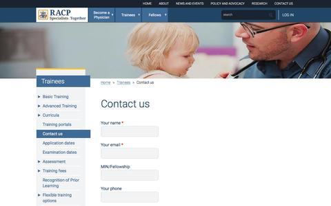 Screenshot of Contact Page racp.edu.au - Contact us - captured Sept. 10, 2016