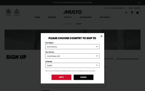 Screenshot of Signup Page musto.com - Account Sign In │ Musto - captured Nov. 6, 2018