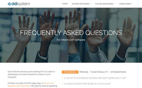 Screenshot of FAQ Page ddisystem.com - Frequently Asked Questions | Distribution Software FAQs | DDI System - captured Sept. 14, 2018