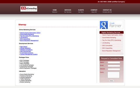 Screenshot of Site Map Page sreconsulting.in - Sitemap of SR eConsulting - SEO in Noida, Noida SEO, SMO Noida India, SMO Noida - captured Oct. 3, 2014