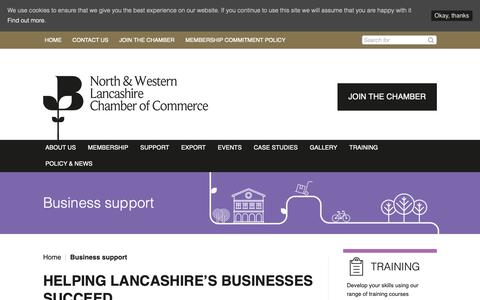 Screenshot of Support Page lancschamber.co.uk - Business support - North & Western Lancashire Chamber of Commerce - captured Oct. 18, 2018