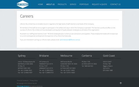 Screenshot of Jobs Page liftronic.com.au - Careers - Liftronic Lifts - captured Aug. 9, 2017