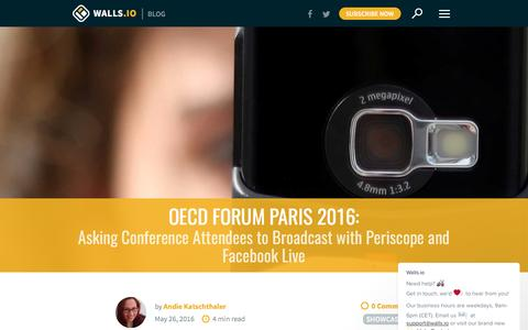 Screenshot of walls.io - Attendees Broadcast with Periscope & Facebook Live   Walls.io Blog - captured March 8, 2017