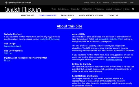 Screenshot of Privacy Page Terms Page thejewishmuseum.org - The Jewish Museum - About this Site - captured Sept. 19, 2014