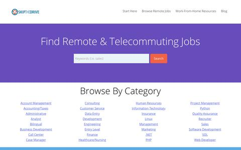 Screenshot of Home Page skipthedrive.com - SkipTheDrive - Find Telecommuting, Remote, & Online Jobs - captured July 1, 2017
