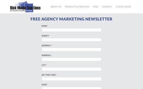 Screenshot of Signup Page riskmediasolutions.com - Free Agency Marketing Newsletter - Risk Media Solutions - captured Oct. 20, 2018