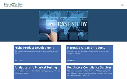 Screenshot of Case Studies Page here2grow.com - Case Studies - Here2Grow - Cosmetics & Homecare Labs U.K. - captured May 18, 2017