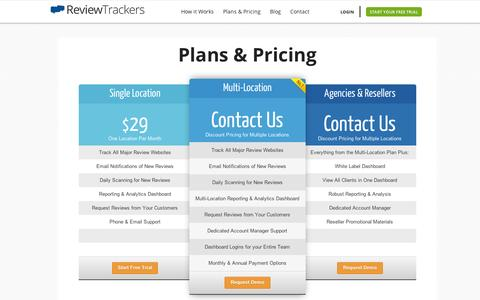 Screenshot of Pricing Page reviewtrackers.com - Plans & Pricing | Review Trackers - captured Sept. 12, 2014