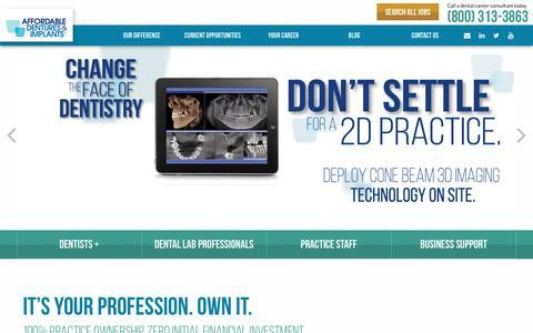 Screenshot of Jobs Page affordabledentures.com - Affordable Dentures & Implants – Careers at Affordable Dentures & Implants. Change the Face of Dentistry. - captured July 24, 2016