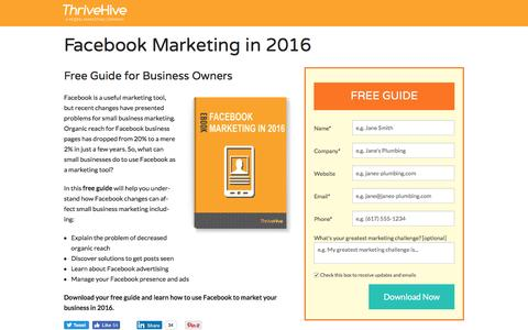 Screenshot of Landing Page thrivehive.com - Facebook Marketing in 2016   ThriveHive - captured Aug. 19, 2016