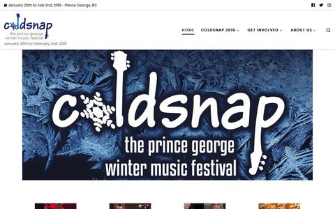 Screenshot of Home Page coldsnapfestival.com - Coldsnap – January 25th to February 2nd, 2019 - captured Dec. 15, 2018