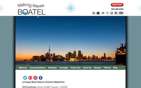 Screenshot of Maps & Directions Page boatel.ca - Boat Hotel in Toronto near CN Tower and Rogers Centre - captured Sept. 29, 2017