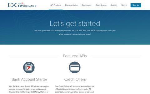 API Products | Capital One DevExchange